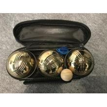 Three Gold Balls Bocce Petanque In Nylon Bag