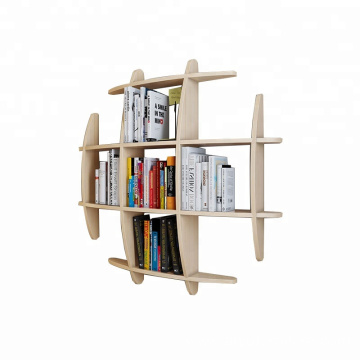 New design wood morden curved wall shelves