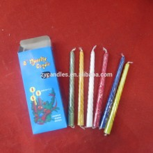8 Novelty Muti Color Spiral Taper Candle