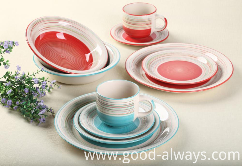 Handpainted Dinner Set Red