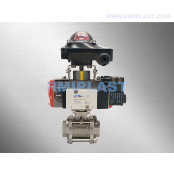 Pneumatic Ball Valve SS316 Single Acting With Solenoid Valve and Limit Switch