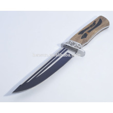 Tactical Hunting Knife with Stell Casting Wood Handle