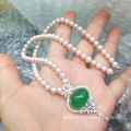 Natural Freshwater Pearl And Diamond Pendant Jade Necklace