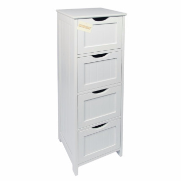 White Wooden MDF 4-Drawer Floor Standing Bathroom Storage Cabinet 4-Drawer Floor Standing Bathroom Storage Cabinet Unit, White