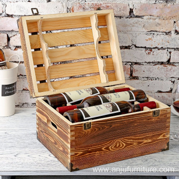 Bottom price for Solid Wine Box Rustic Storage Box Wood 6 Wine Bottle Case with Handles supply to Mongolia Wholesale