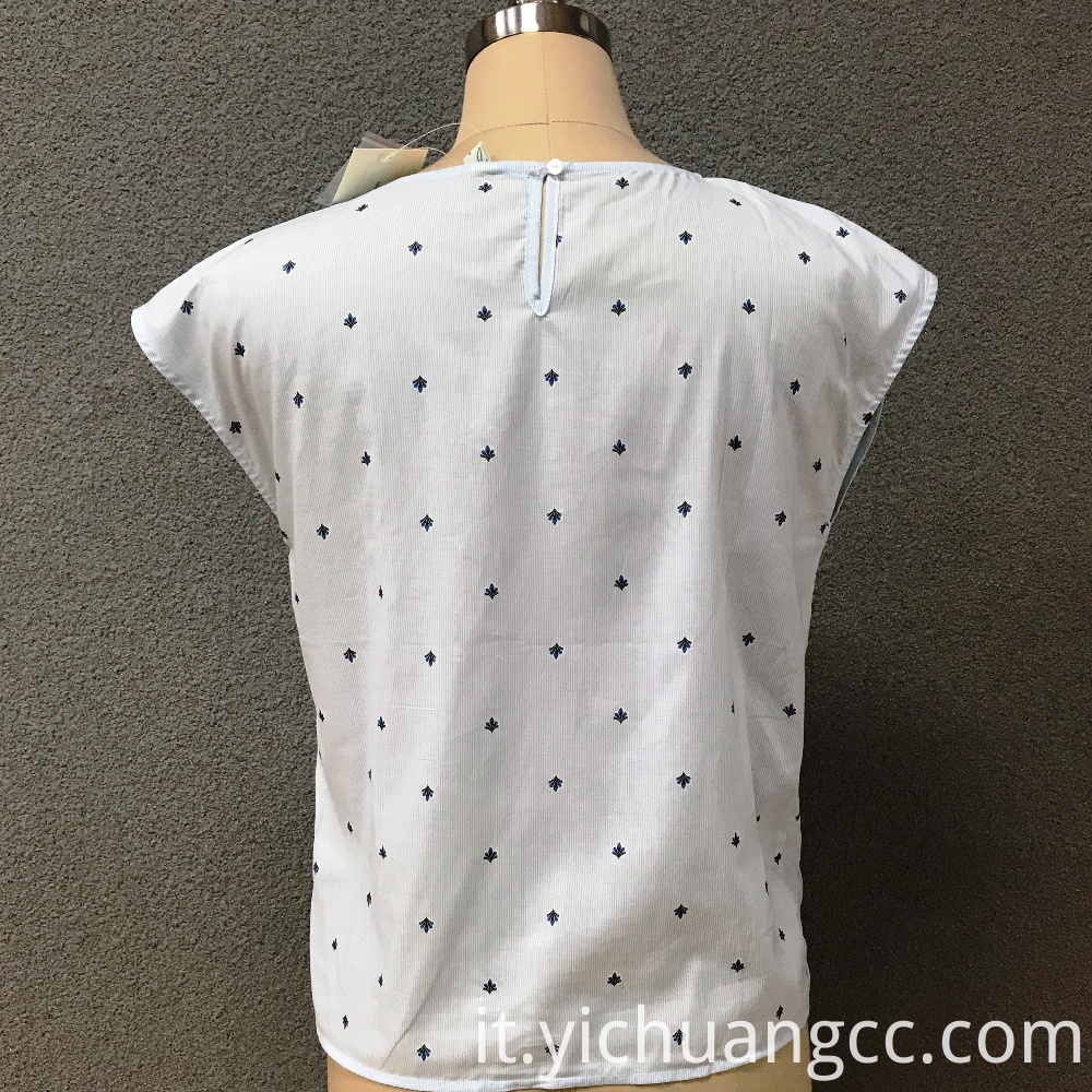 Women's cotton printed white top