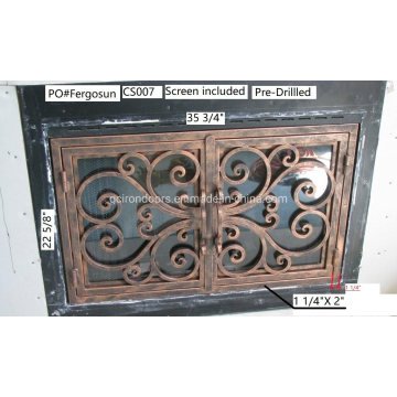 Iron Fireplace Door Made in Tempered Glass