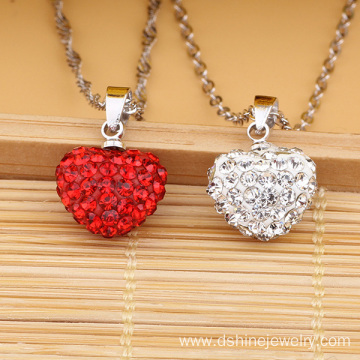 Silver Chain Necklace With heart Shamballa Pendant Necklace