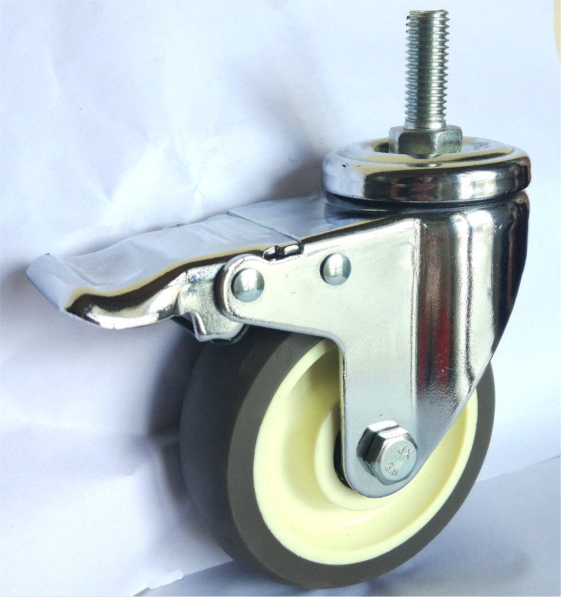 Medium Duty Thread Stem Brake Tpr Caster Wheels