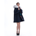 Fashionable White Plush collar Parker coat