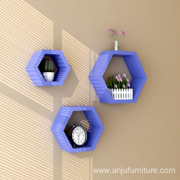 Factory direct home decoration items wooden hexagon wall mounted shelf supplier