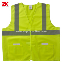 Multi-functional pockets work reflective safety vest