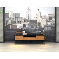 3 drawer Black Solid Wood TV Stand