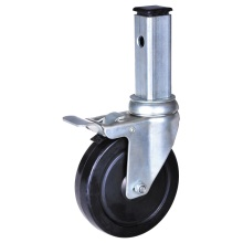 4 inch square stem caster with total brake