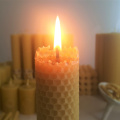 Hand made rolled natural beeswax taper candle