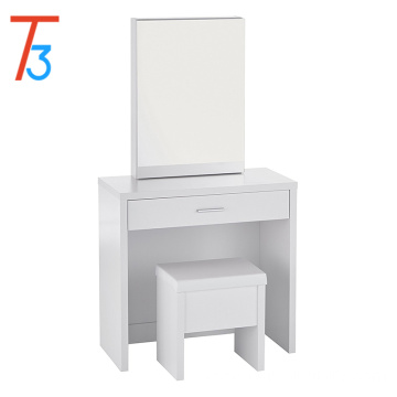 Home Furnishings 3 Piece Vanity Table Set with Sliding Mirror and Stool Storage - White