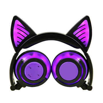 OEM for Cat Headphones Bluetooth Wireless Stereo Colorful Cat Ear LED Light Headphones supply to Colombia Supplier