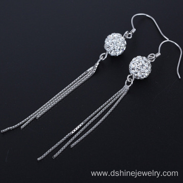 Silver Shamballa Hoop Earring For Women Chain Tassel Earring