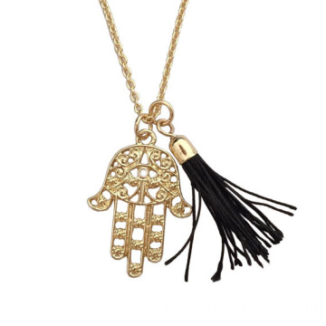 Hand Of Fatima Pendant Tassel Necklaces For Women