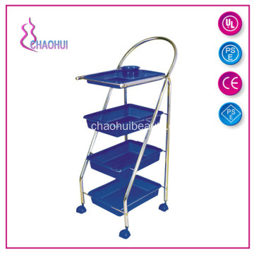 Four Drawer Black And Blue Color Salon Trolley