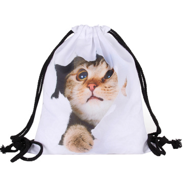 High Quality Exquisite Craft Cute Animal Cat Drawstring Bag For Children