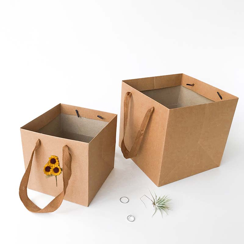 Kraft paper square florist gift package bag
