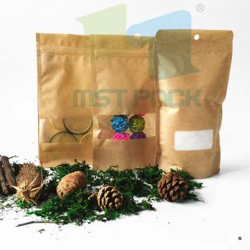 Kraft Paper Bag Stand Up Pouch With Window