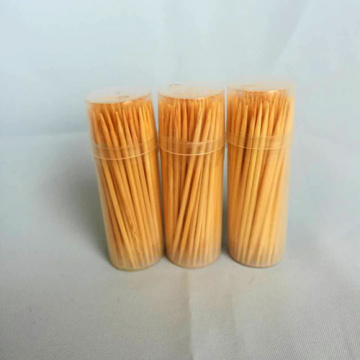High Quality Hygienic Bamboo Toothpick Clear Round Bottle