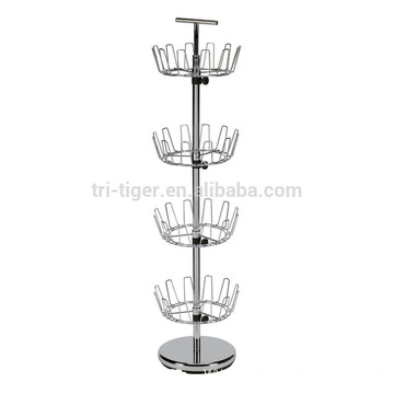 Chrome Bronze 4 Tier Revolving Shoe Tree Holder shoe Rack