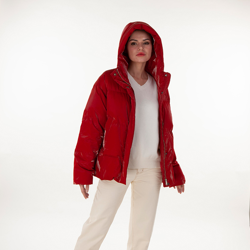 A red fashionable down jacket