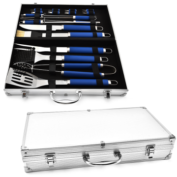 18PCS TPR Handle BBQ Set With Aluminum Case