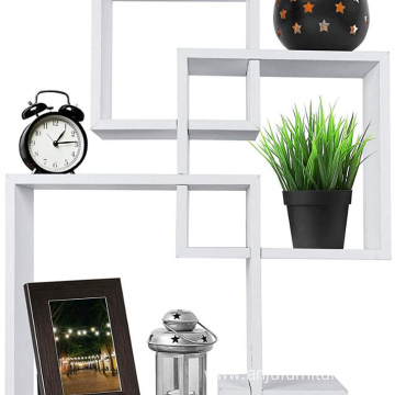 Wall Shelf Intersecting Floating Black Laminated MDF Home Hanging Decorative Shelf