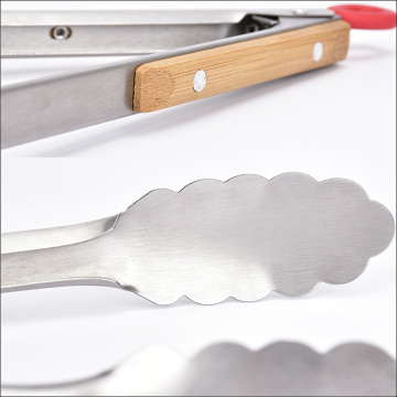 Stainless Steel Locking Tongs with wooden holder