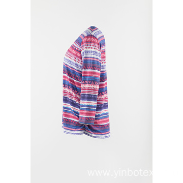 Poly knitting stripe 3/4 sleeve T shirt