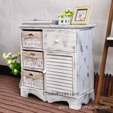 rustic living room rattan wicker furniture wood cabinet corner in white roast