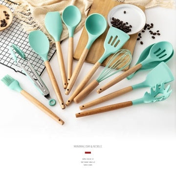 Green Silicone with Beech Wood Handle Utensil Set