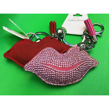 Fashion Sexy Lips Studded Leather Fringed Keychain Red Lip Pendants