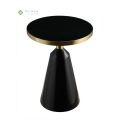 Round Black Metal Side Tables na may tanso na tanso