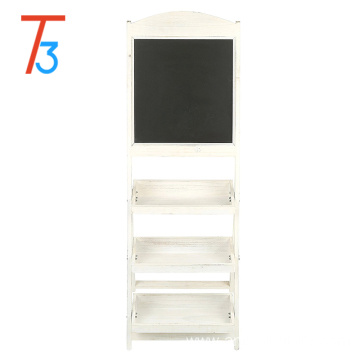 Factory Price for China Flower Shelf,Flower Stand,Wood Plant Shelf Manufacturer and Supplier wooden flower stand blackboard with 3 display shelves supply to Belize Wholesale