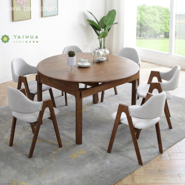 Extendable Dark Rubber Solid Wood Round Table for 6