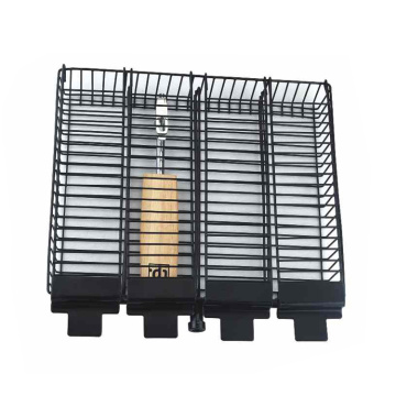 Non-stick grill basket with detachable wooden handle