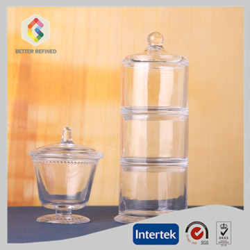 Clear three tier glass jar