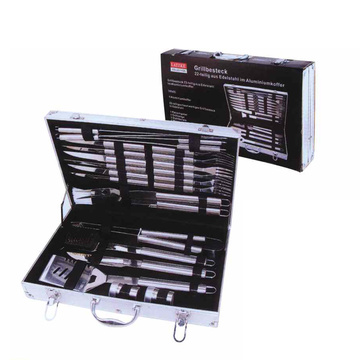 20pcs stainless steel BBQ set in aluminum box