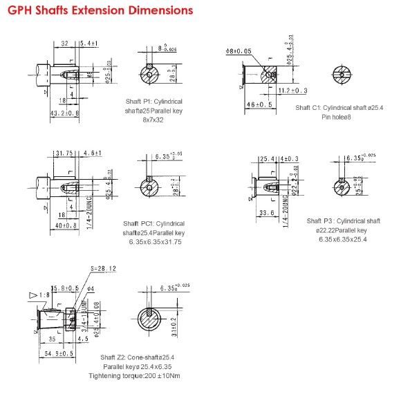 GPH Shafts Extension Dimensions-1