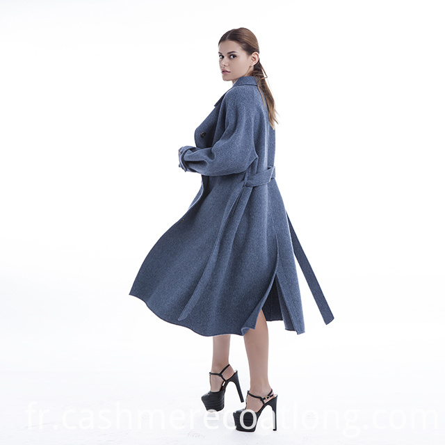 Blue flowing cashmere coat