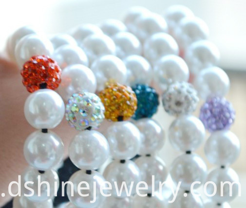 White Pearl Crystal Ball Bracelet
