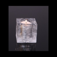 Glass Ribbed Square Tealight Candle Holder