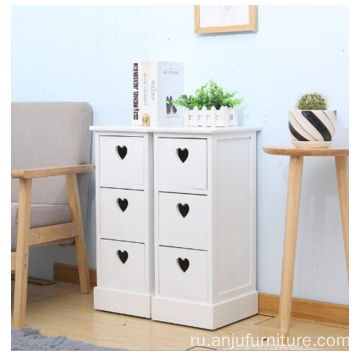 White color 3 Drawer Tall Nightstand bedside table