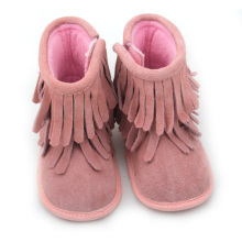 Hot selling attractive for Baby Boots Moccasins Suede Leather Pink Girls Baby Winter Boots export to Germany Factory
