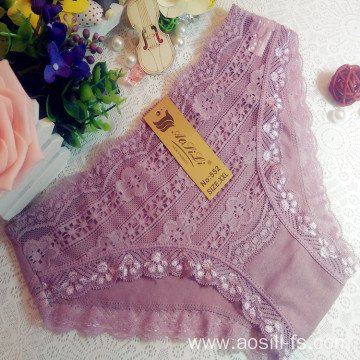 China OEM wholesale little flower sky cameo brown sexy comfortable lace cotton fancy underwear 552